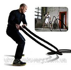 Канат для кроссфита, д 40 мм., длина 10 м Crossfit Battle Rope с ручками , фото 3