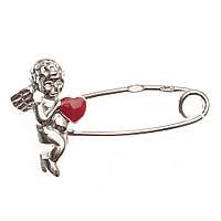 Серебряная булавка Ангелочек с сердцем