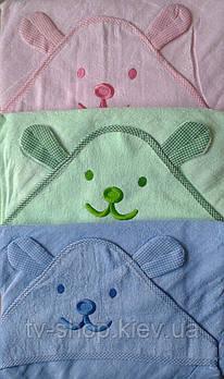 Полотенце- уголок  для купания Ушки (3 цвета)