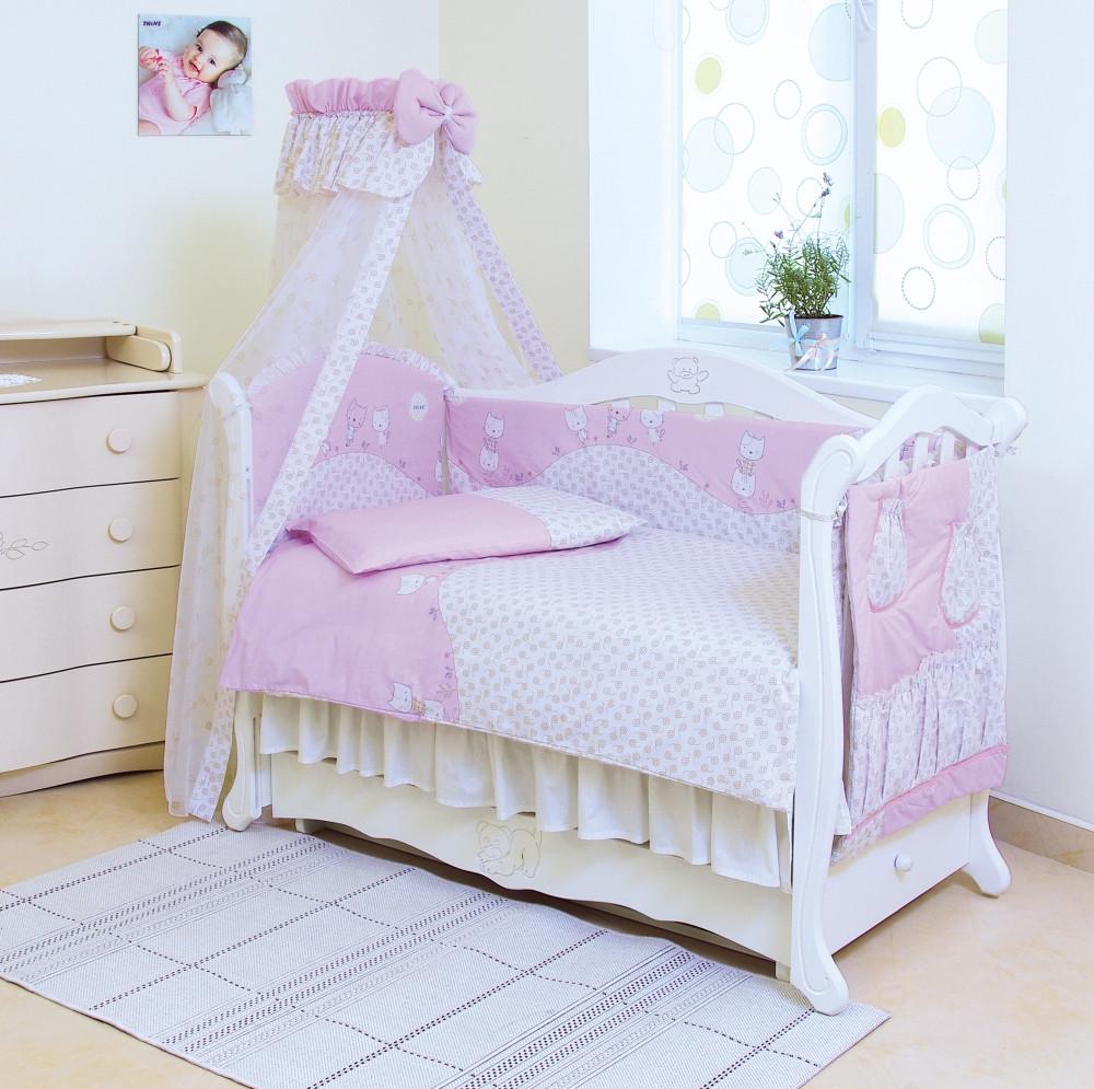 Детский постельный комплект Comfort «Котики» (Розовый, С-033, 8 элементов), Twins