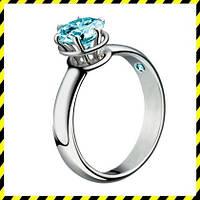 Золотое кольцо -Elit- с крупным голубым бриллиантом 0,75ct.! 750 проба.