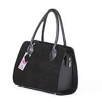 Замшевая прямоугольная сумка кожаные вставки №1346z