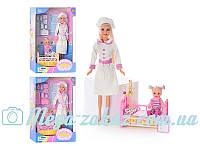 Кукла Defa 20995 Медсестра с ребенком, 2 вида: медицинские инструменты, кроватка