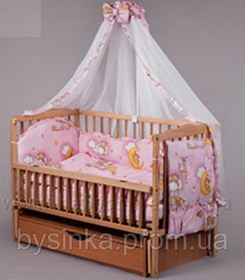 Комплект детского постельного белья с роскошным балдахином и бантом