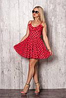 Короткий летний сарафан, красивый, модный, клешный, цвет красный, 42,44,46,48