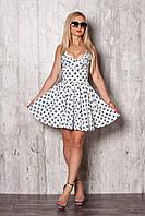 Яркий легкий летний сарафан, красивый, модный, клешный, цвет молочный, 42,44,46,48