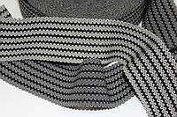Резинка декоративная 50мм (27.5м) черный+белый, фото 1