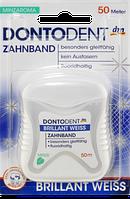 DONTODENT Zahnband Brillant Weiss, 50 m - Зубная нить с отбеливающим эффектом, фторсодержащая, 50 м