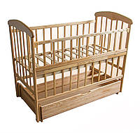 Кроватка деревянная для детей маятник с шухлядой Наталка