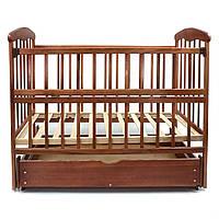 Кроватка детская деревянная маятник с шухлядой Наталка