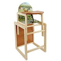 Деревянный детский стульчик для кормления Олени
