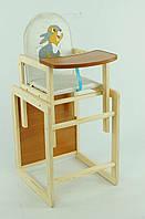 Детский деревянный стул для кормления Серый зайчик
