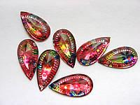 Стразы пришивные. Каплевидные, с цветочным рисунком, 15х29 мм