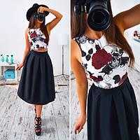 Женский модный костюм: топ и юбка с черепом