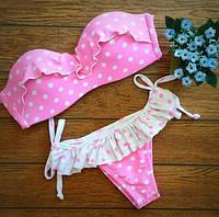 Купальник раздельный бикини розовый с белым в горошек с оборками М