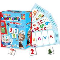 Обучающая игра на магнитах Математика на магнитах Маша та Ведмідь Vladi Toys VT 3305-04 (укр)