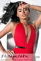 Слитный купальник Пландж с глубоким вырезом на груди красный