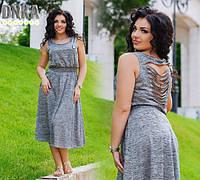 Платье батал с вырезами на спинке 1063