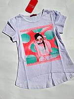 Футболка для девочки Aquamarine  р.98-128. Детские футболки оптом
