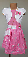 Нарядное платье для девочек из натуральной ткани  с болеро