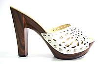 Сабо женские Berkonty белые натуральная кожа на каблуке