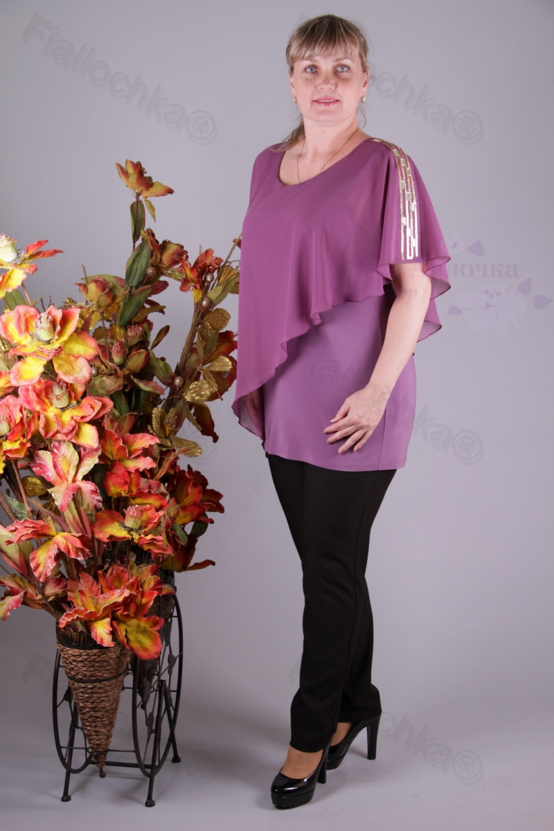 Блуза 2910-436/3 шифон больших размеров оптом