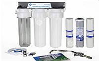 """Тройная система для очистки воды """"aquafilter"""", проточного типа ,3 ступени очистки"""