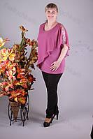 Блуза 2911-436/3 шифон больших размеров оптом