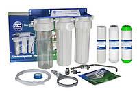 """Тройная система для очистки воды """"aquafilter"""",для жесткой воды проточного типа ,4 ступени очистки"""