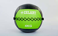 Мяч медицинский (волбол) WALL BALL 4 кг (PU, наполнитель-метал. гранулы, d-33 см, зелёный)