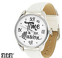 """Прикольные наручные часы """"Иллюзия времени"""" белый ZIZ (Украина)"""
