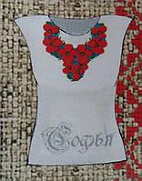 Заготовка женской футболки с цветами на габардине, 230/180 (цена за 1 шт. + 50 гр.)