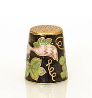 Старый бронзовый наперсток Клуазоне, латунь, бронза, перегородчатая эмаль, винтаж, фото 1