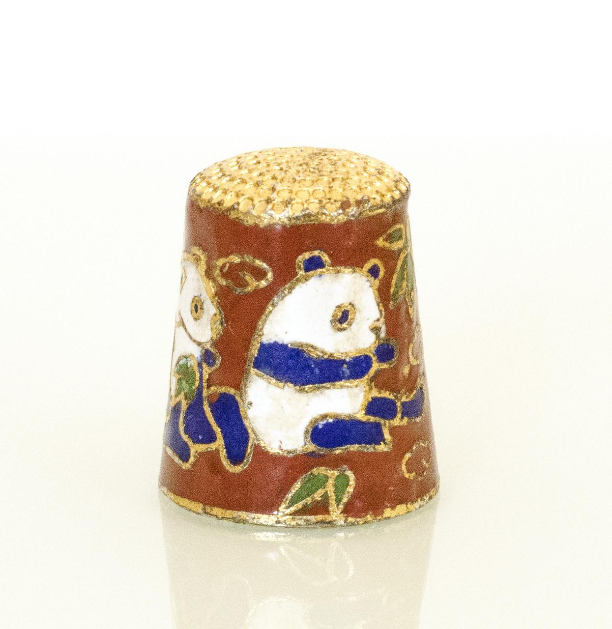 Старый наперсток Клуазоне, горячая эмаль, Китай, панда