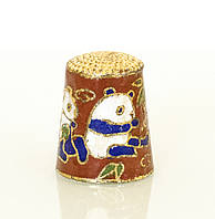 Старый бронзовый наперсток Клуазоне, латунь, бронза, перегородчатая эмаль, винтаж, панда, фото 1