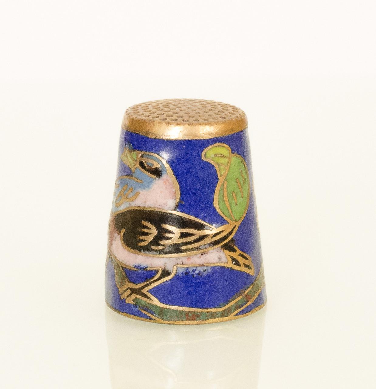 Старый бронзовый наперсток Клуазоне, латунь, бронза, перегородчатая эмаль, винтаж, птицы