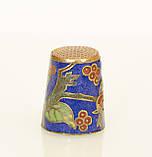 Старый бронзовый наперсток Клуазоне, латунь, бронза, перегородчатая эмаль, винтаж, птицы, фото 3