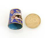 Старый бронзовый наперсток Клуазоне, латунь, бронза, перегородчатая эмаль, винтаж, птицы, фото 7