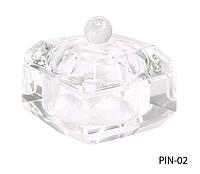 Стеклянная посуда для мономера с крышкой квадратной формы Lady Victory LDV PIN-02 /08-0