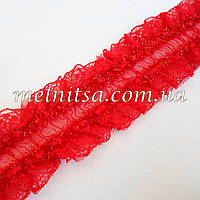 Кружевная декоративная резинка, 3,5см, цвет красный