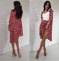 Костюм женский шорты + накидка кардиган шифон размеры С-М