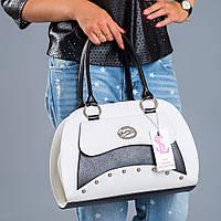 Черно-белая сумка дамская деловая №1354wn3
