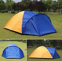 Комфортная 4 х местная палатка JY-1522, 2 комнаты, 320*210*145, синяя с оранжевым / оранжевая с синим