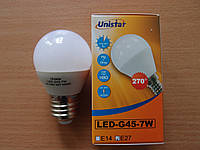Лампа светодиодная шар ТМ Unistar LED-G45-7W E27