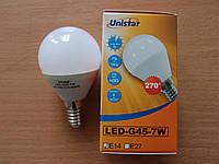 Лампа светодиодная шар ТМ Unistar LED-G45-7W E14