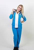 Удобный женский спортивный костюм 1231 голубой/белый