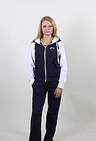Спортивный женский костюм 1230 темно-синий/белый