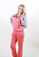 Женский молодежный спортивный костюм 1230 коралловый/серый