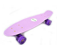 Скейтборд/ скейт Пенни борд (Penny Board) Лаванда Пастель со светящимися колесами