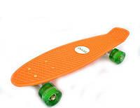 Скейтборд/ скейт Пенни борд (Penny Board) Оранжевый со светящимися колесами